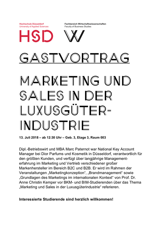 Gastvortrag: Marketing und Sales in der Luxusgüterindustrie