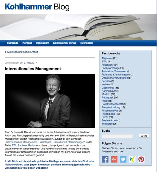 Interview of the publishing house Kohlhammer with Prof. Dr. Bleuel