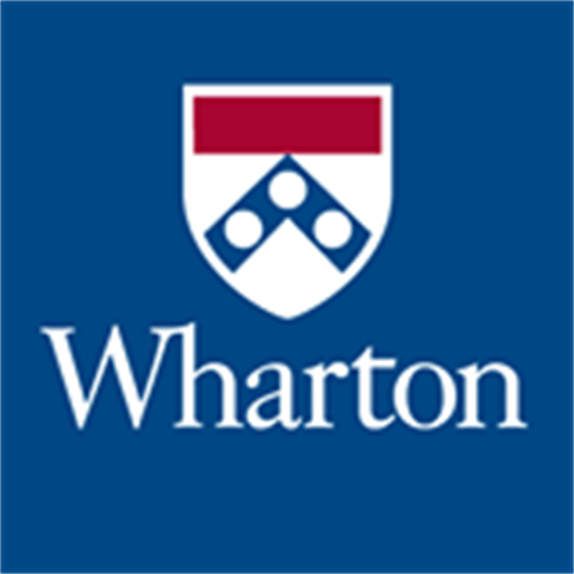 "We see the logo of the Wharton School. It is a blue square. It shows the white lettering ""Wharton"" . Above them is a coat of arms with a red cross beam and a blue angle with white dots ."