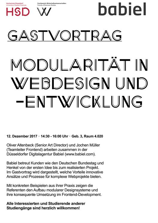 Poster Guest lecture Modularity in web design and web development