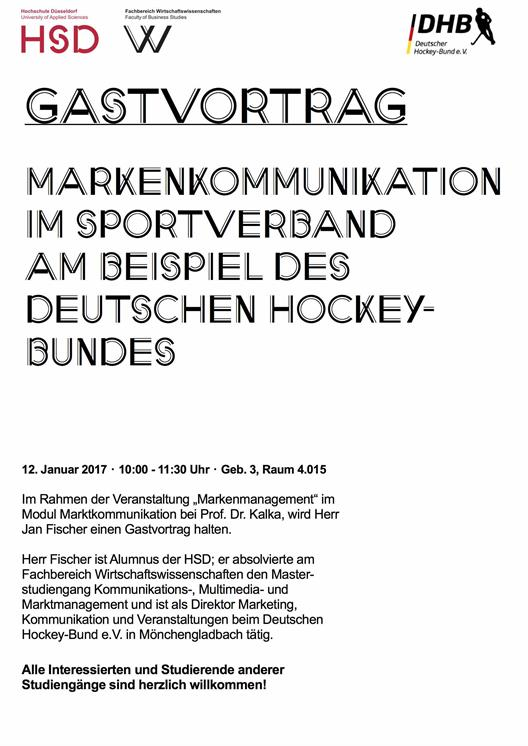 Gastvortrag Markenkommunikation in the sports association with the example of the German Hockey Federation