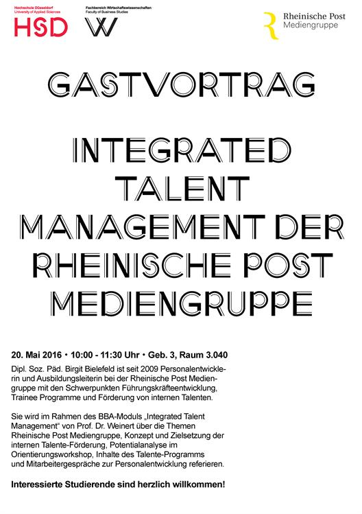 We see a poster announcing the guest lecture by Mrs. Bielefeld. In the upper area are the logos of HSD and the faculty and the logo of the Rheinische Post Media Group. The body text is the text of the announcement in a shortened form.