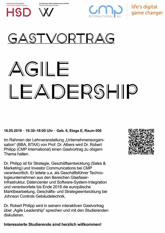Guest lecture Dr. Robert Philipp (CMP International) zum Thema Agile Leadership