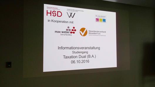 "Cover of the presentation ""Information Event Bachelor Programme Taxation Dual"""