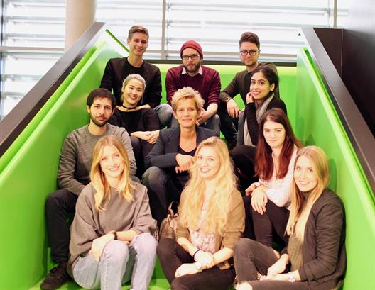 Students of the specialization module TV Content Development in the foyer