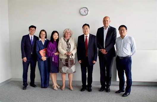 "From left to right: Prof. Liu Xiaohui, Head of Mathematical Statistics (Department of School of Statistics); Dr. Monika Katz, Head of International Office; Prof. Wan Minli, School of Foreign Languages ""Business Administration Faculty;  Prof. Felicitas Albers, Dean of the Faculty of Business Studies; Prof. Yuan Xiong, Vice President; Prof. Philipp Freitag, Vice Dean of the Faculty of Business Studies; Prof. Yin Zhonghai, Dean of School of Humanities"