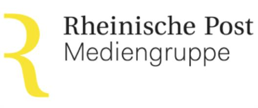 "You see the logo of the Rheinische Post Media Group. It consists of the yellow letter ""R"" and the black lettering ""Rheinische Post Media Group""."