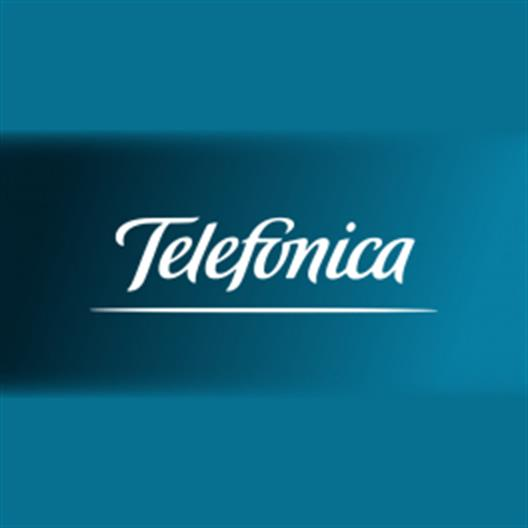 Here is displayed the logo of the company Telefónica.