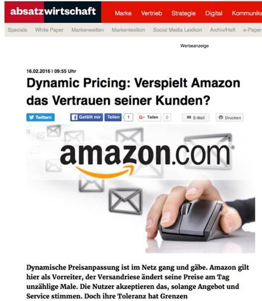 Publication of Prof. Dr. Kalka and Andreas Krämer about Dynamic_Pricing on absatzwirtschaft.de