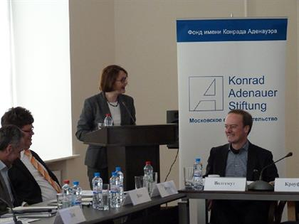 From left to right: Dr. Vladislav Belov, director of the center for German Studies; Prof. Dr. Lothar Funk; Claudia Crawford and Prof. Dr. Michael Wohlgemuth