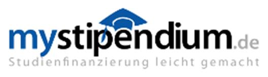 "One can see the logo of the scholarships platform mystipendium.de. It consists of the line ""mystipendium.de"", which  decorated with a stylized mortarboard. The second line says ""student finance made ​​easy""."