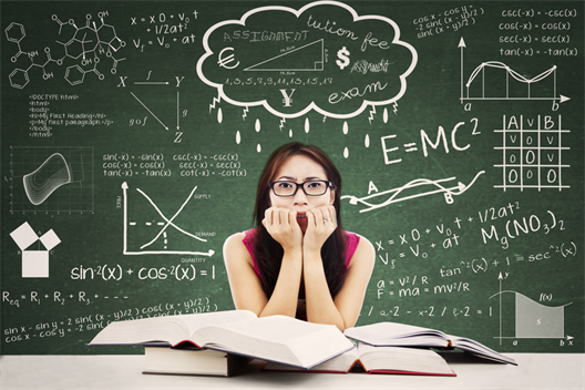 One sees a female student in a nervous tense in front of a large blackboard. The panel displays complex formulas, calculations, and graphs from various fields of knowledge.